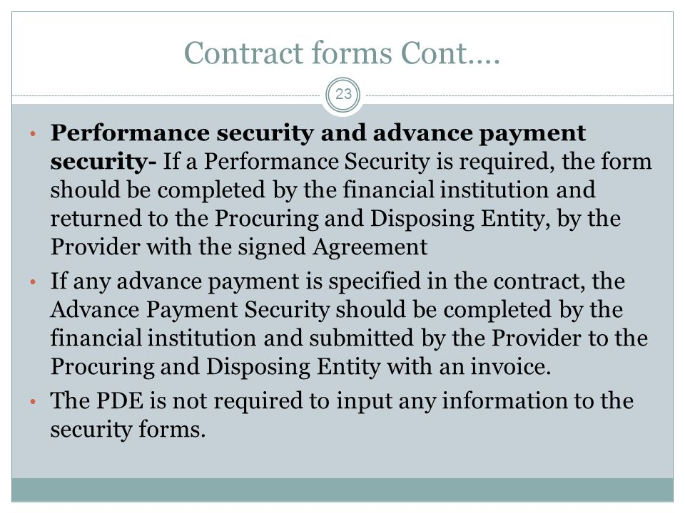 Contract forms Cont….