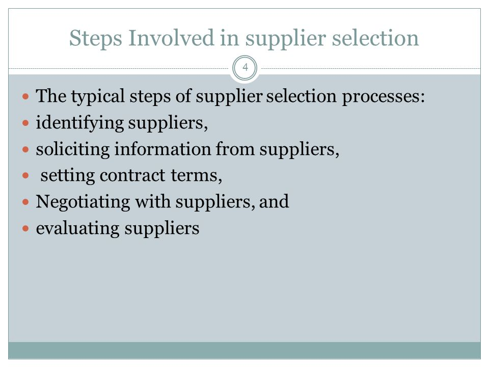Steps Involved in supplier selection