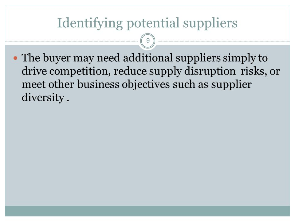Identifying potential suppliers