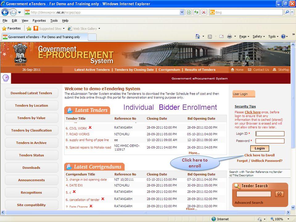 Individual Bidder Enrollment