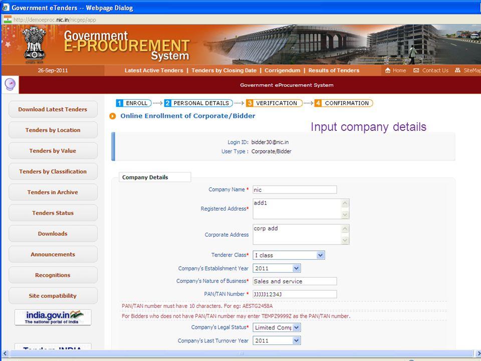 Input company details