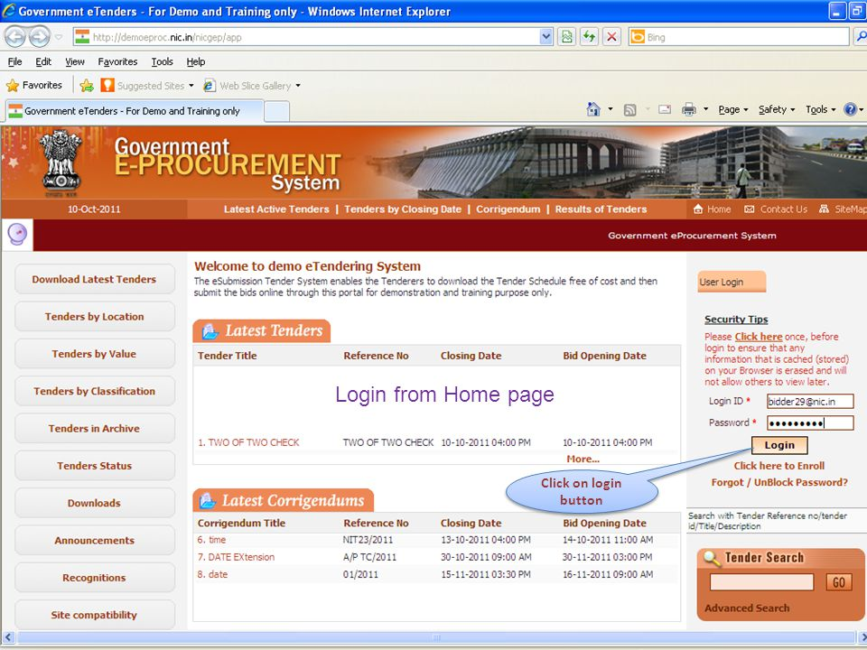 Login from Home page Click on login button