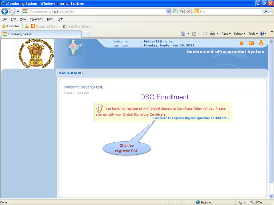 DSC Enrollment Click to register DSC