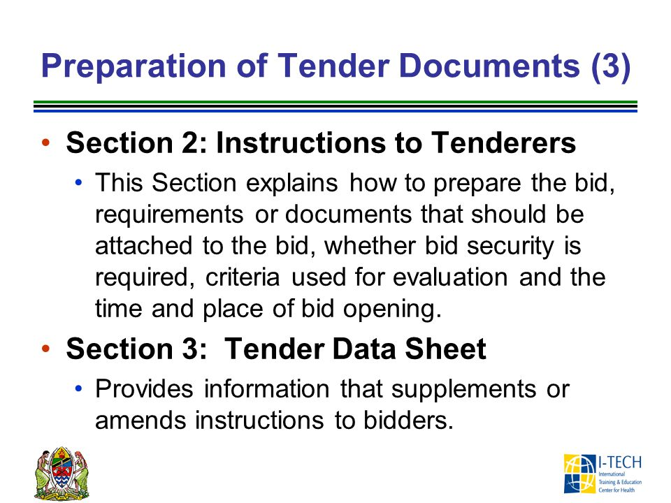 Preparation of Tender Documents (3)
