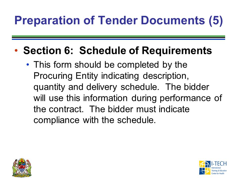 Preparation of Tender Documents (5)