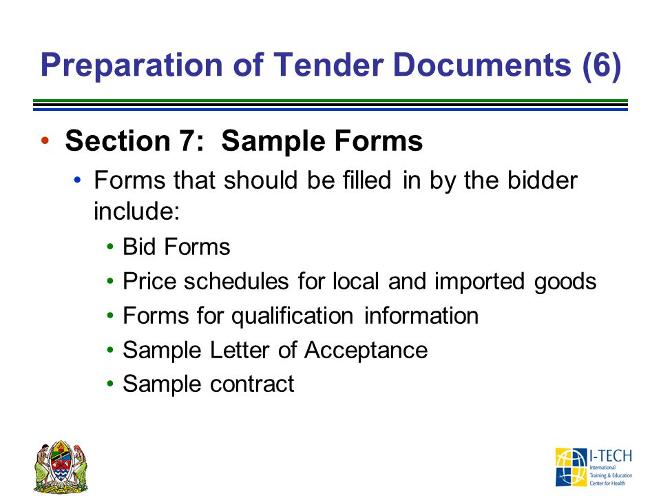 Preparation of Tender Documents (6)