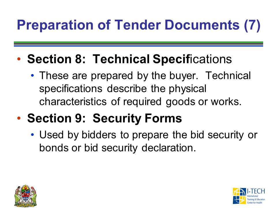 Preparation of Tender Documents (7)