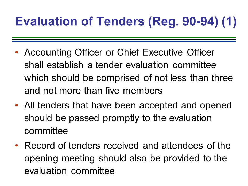 Evaluation of Tenders (Reg. 90-94) (1)