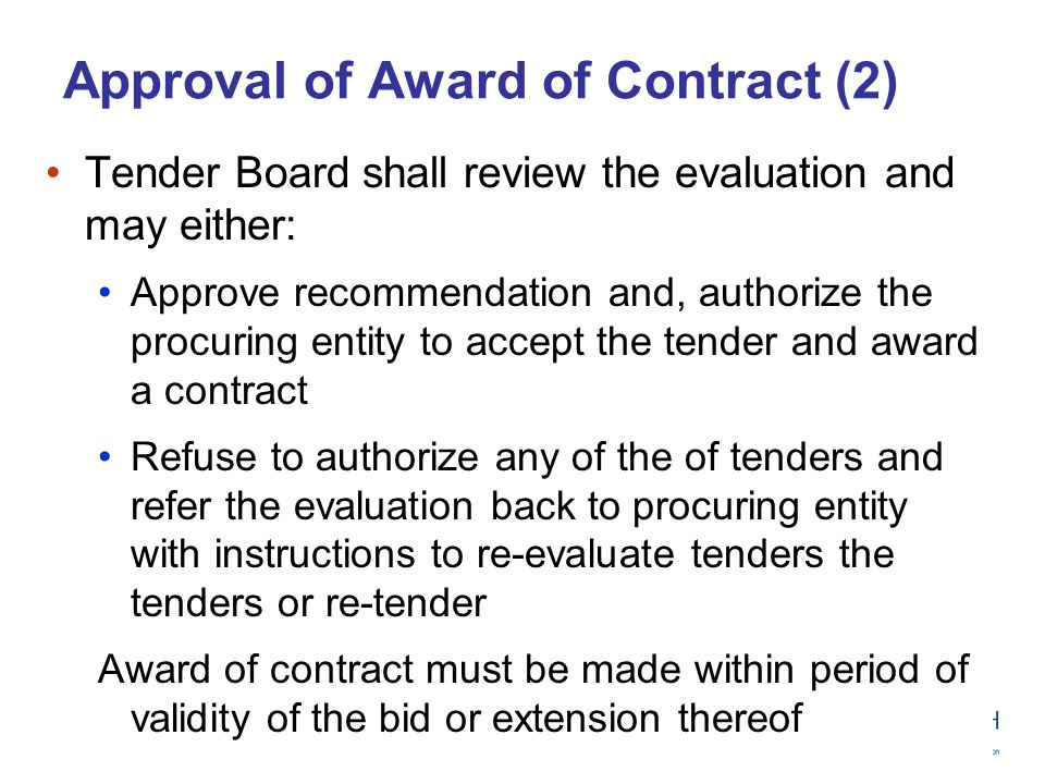 Approval of Award of Contract (2)
