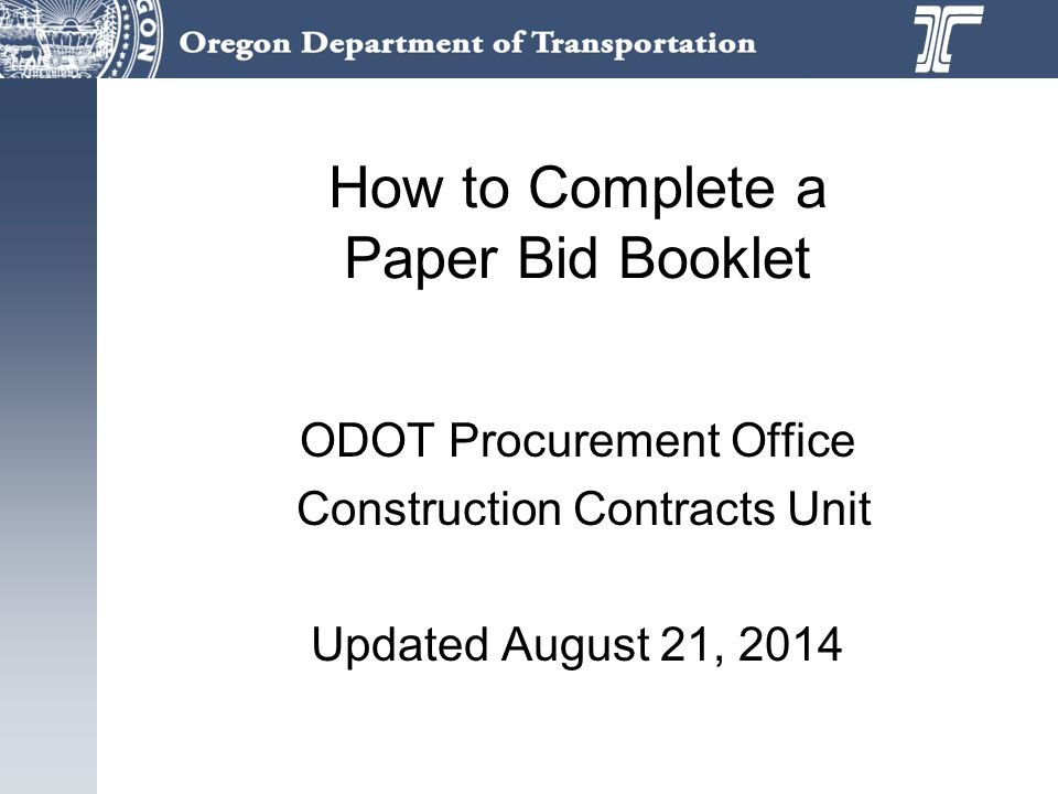 How to Complete a Paper Bid Booklet