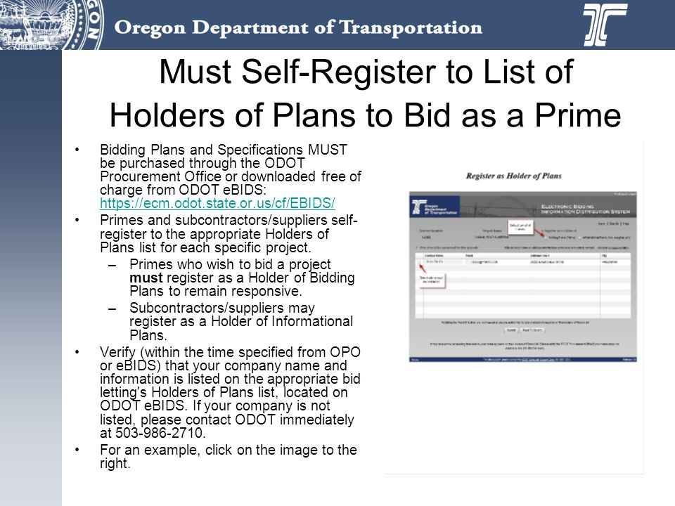 Must Self-Register to List of Holders of Plans to Bid as a Prime