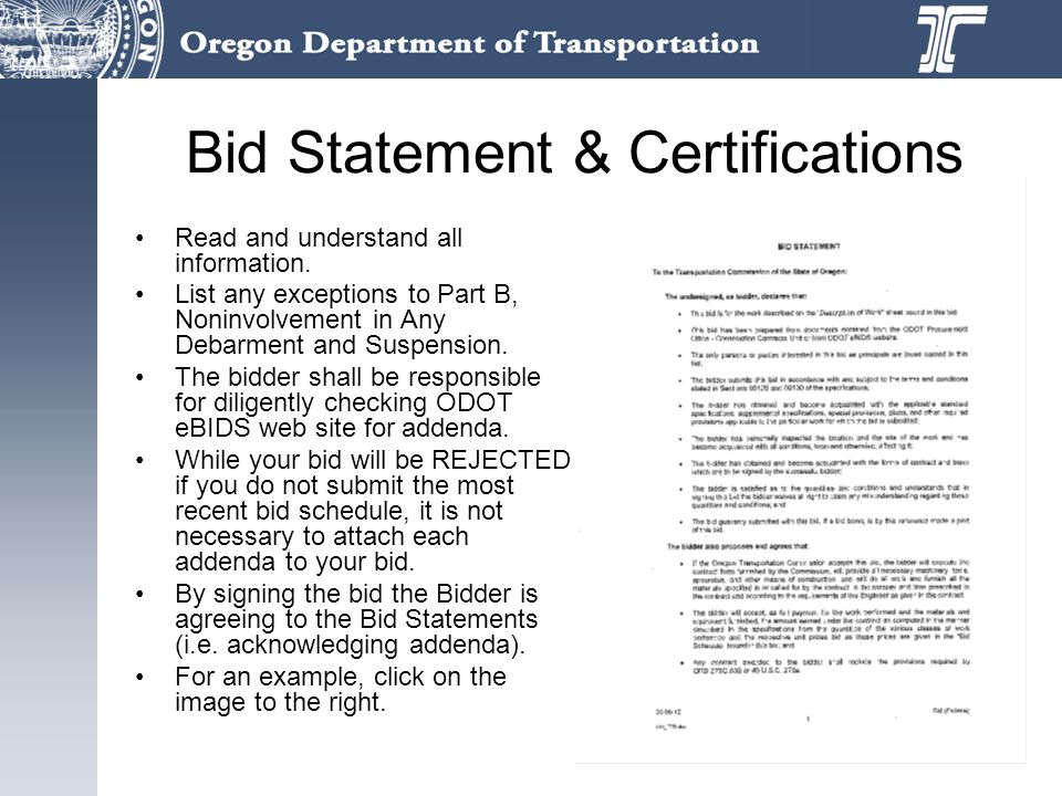 Bid Statement & Certifications