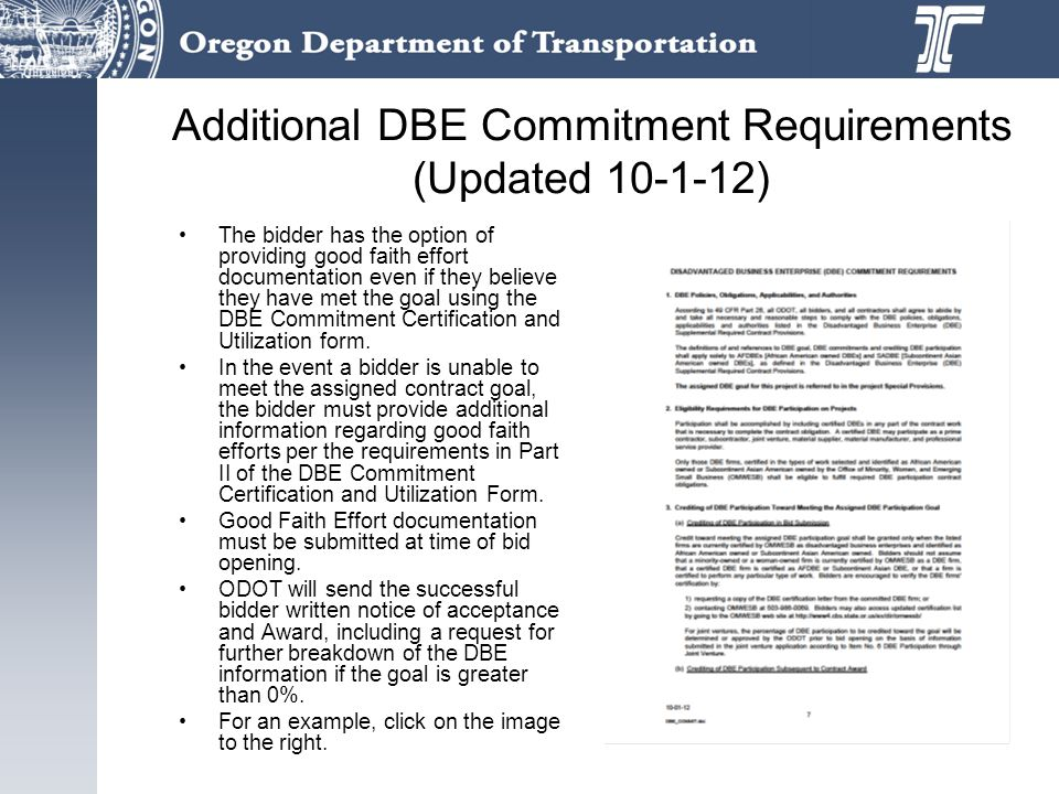 Additional DBE Commitment Requirements (Updated 10-1-12)