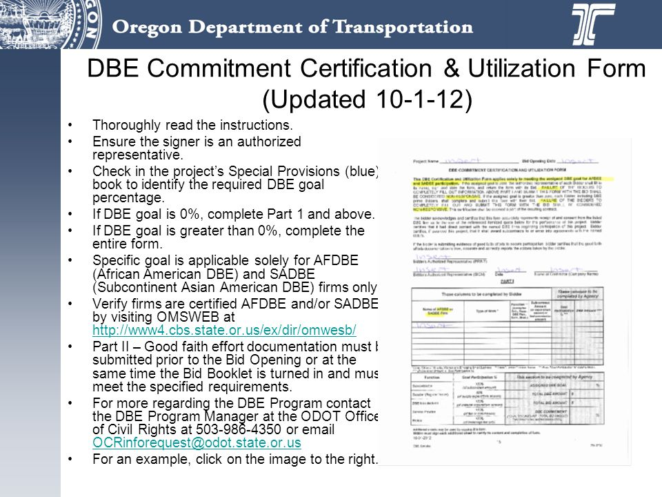 DBE Commitment Certification & Utilization Form (Updated 10-1-12)
