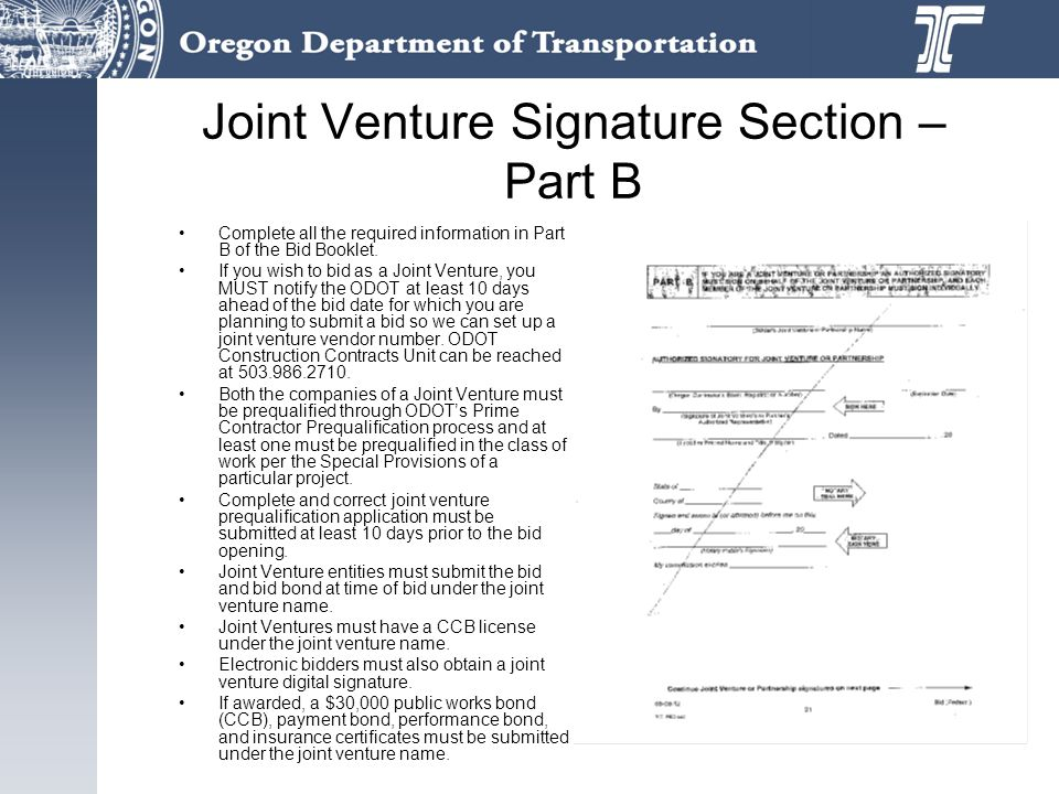 Joint Venture Signature Section – Part B