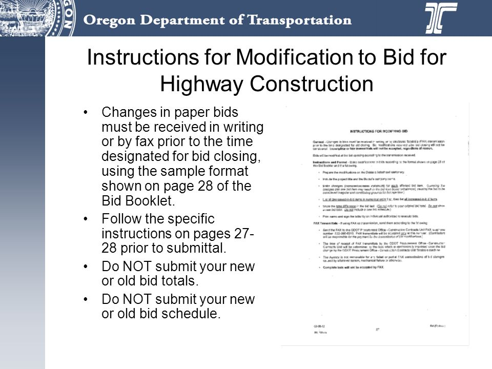 Instructions for Modification to Bid for Highway Construction