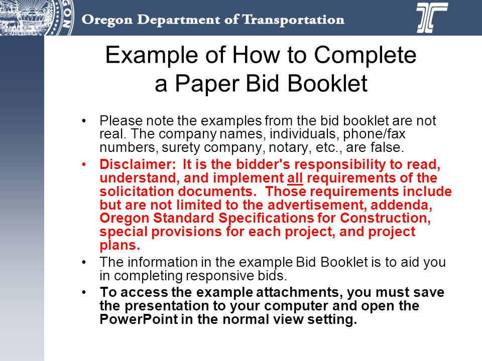 Example of How to Complete a Paper Bid Booklet