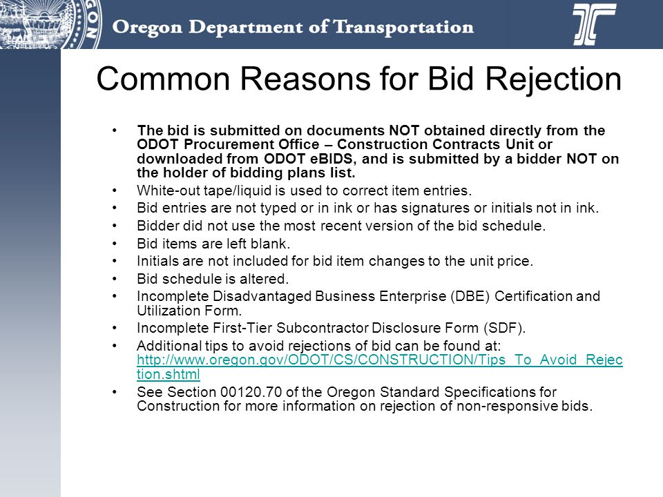 Common Reasons for Bid Rejection