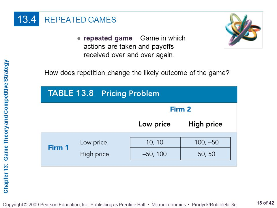 13.4 REPEATED GAMES. ● repeated game Game in which actions are taken and payoffs received over and over again.