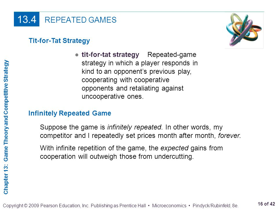 13.4 REPEATED GAMES Tit-for-Tat Strategy