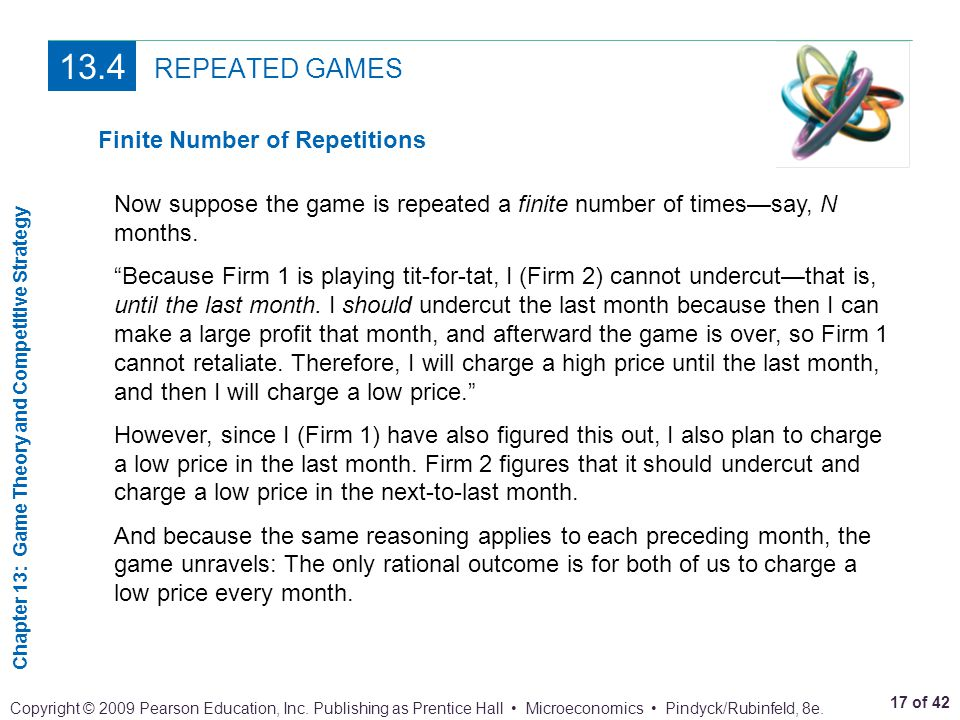 13.4 REPEATED GAMES Finite Number of Repetitions