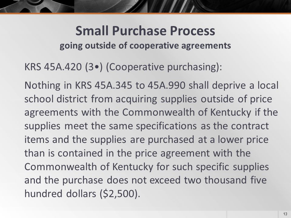 Small Purchase Process going outside of cooperative agreements