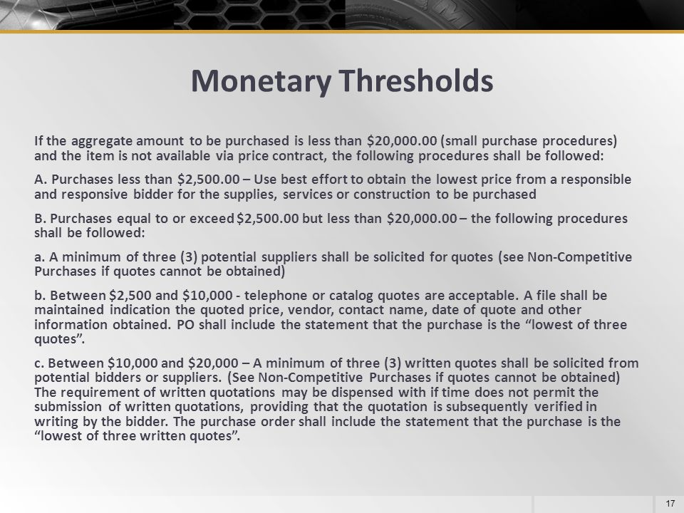 Monetary Thresholds