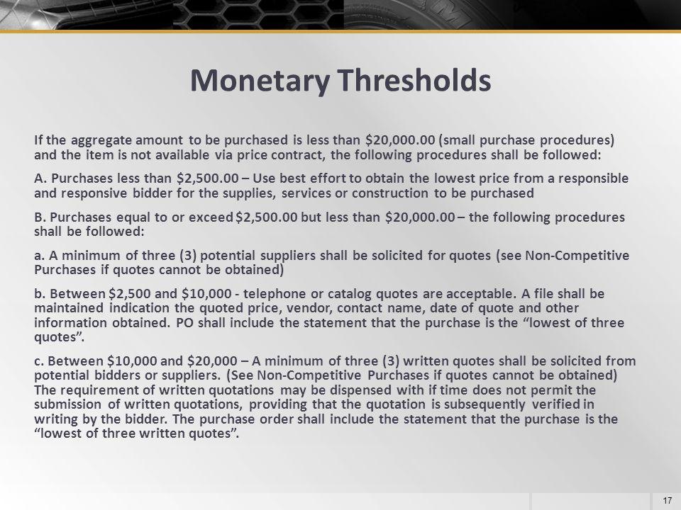 Monetary Thresholds