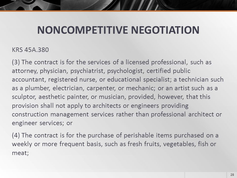 NONCOMPETITIVE NEGOTIATION
