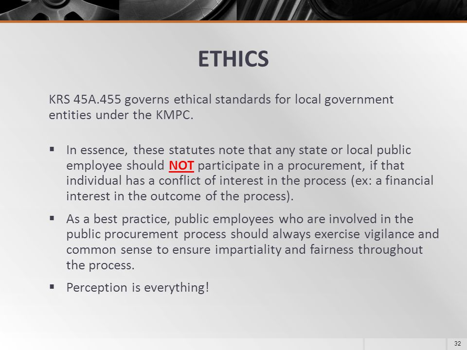 ETHICS KRS 45A.455 governs ethical standards for local government entities under the KMPC.