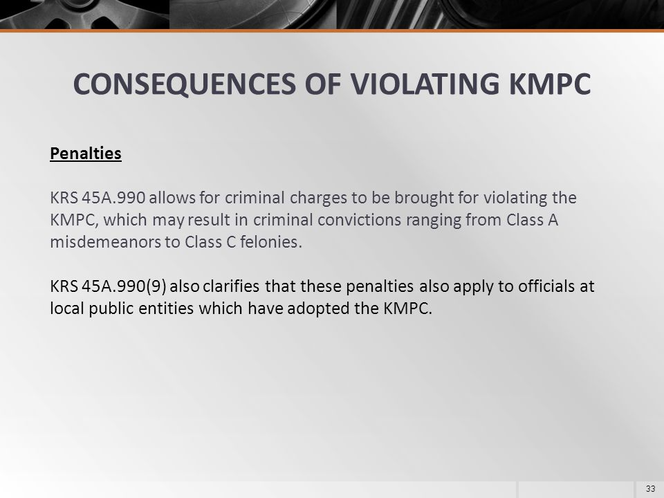 CONSEQUENCES OF VIOLATING KMPC