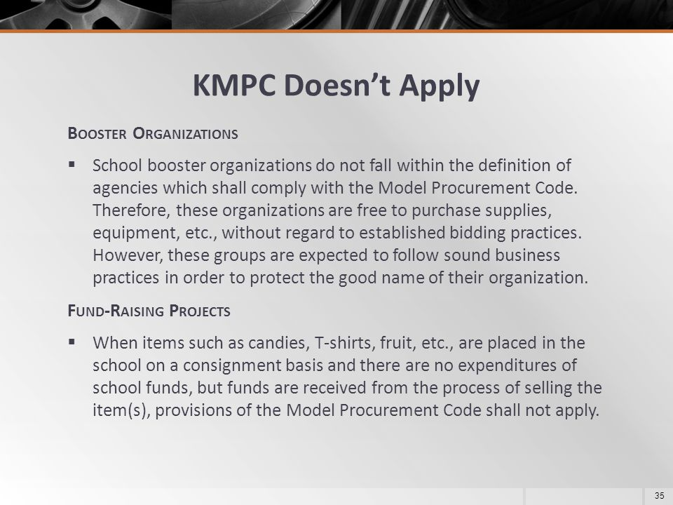 KMPC Doesn't Apply Booster Organizations