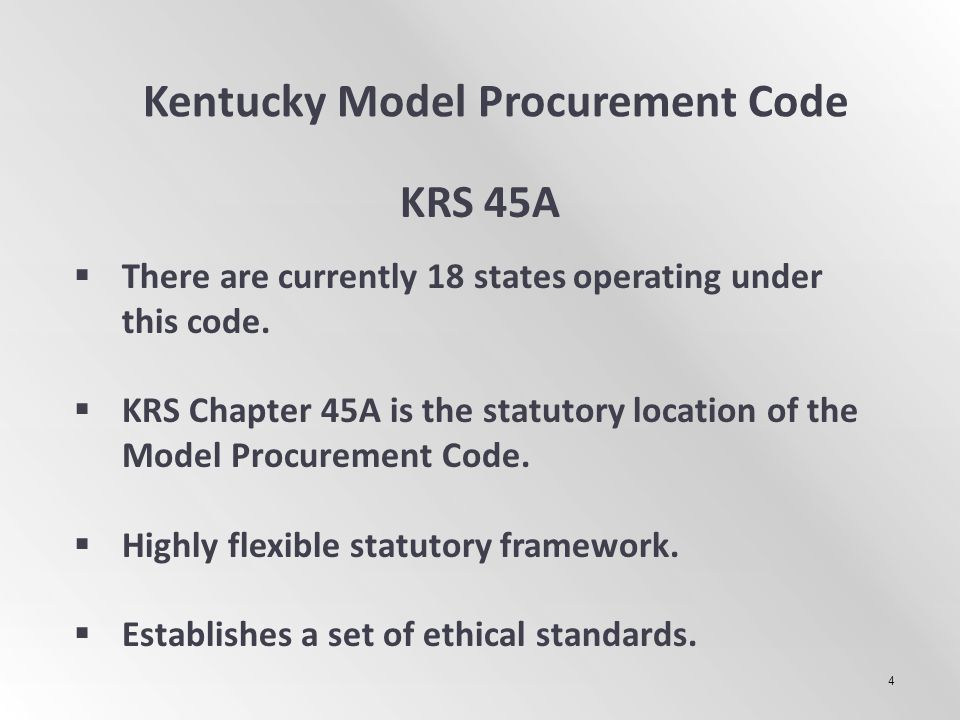 Kentucky Model Procurement Code