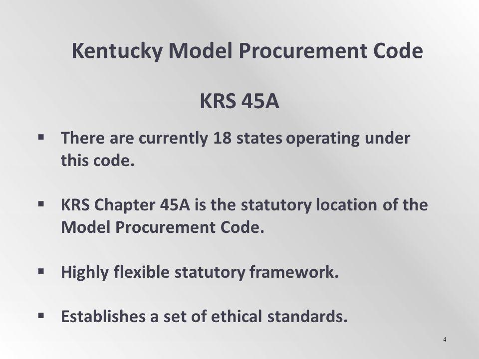 Kentucky Model Procurement Code