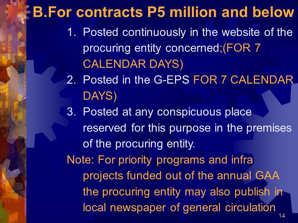 For contracts P5 million and below