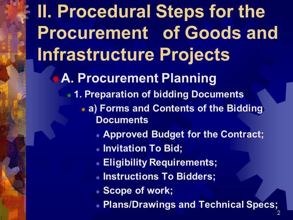 II. Procedural Steps for the Procurement of Goods and Infrastructure Projects