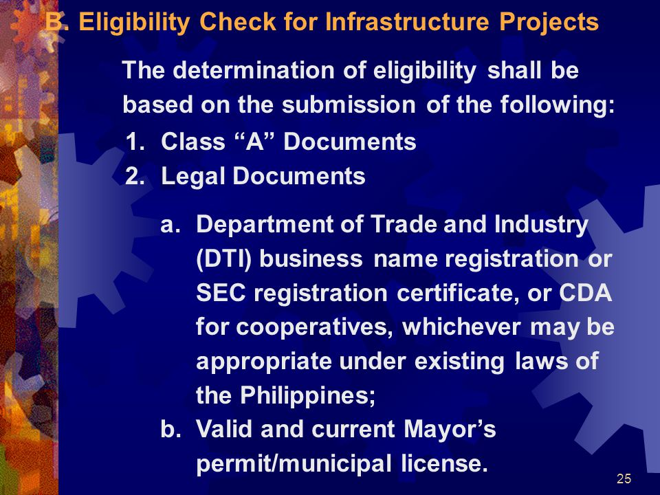 Eligibility Check for Infrastructure Projects