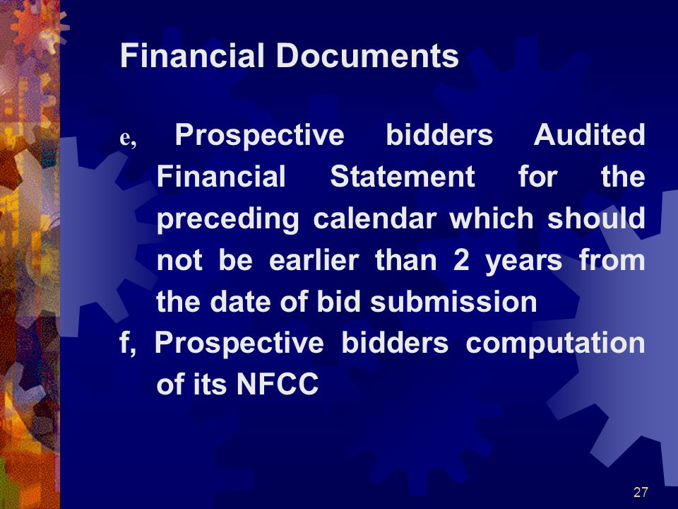 Financial Documents f, Prospective bidders computation of its NFCC