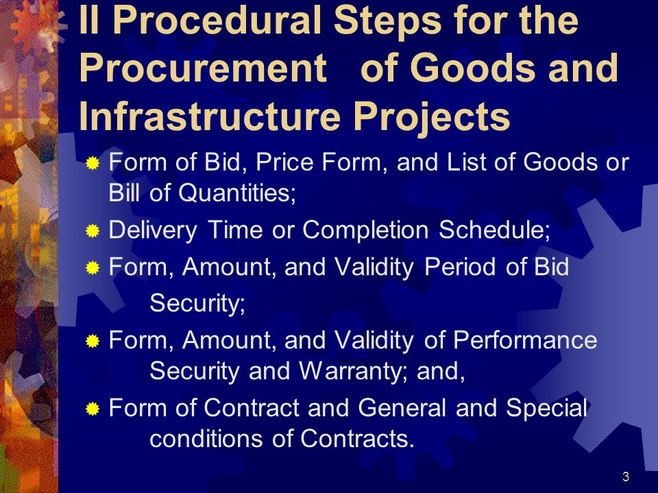 II Procedural Steps for the Procurement of Goods and Infrastructure Projects