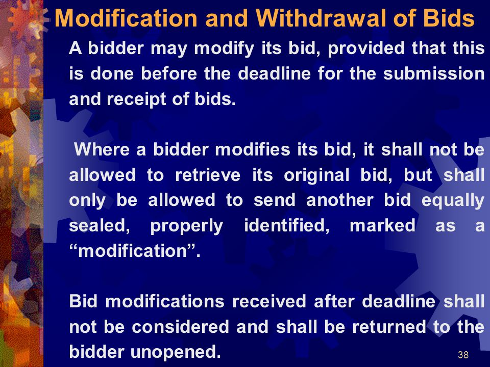 Modification and Withdrawal of Bids