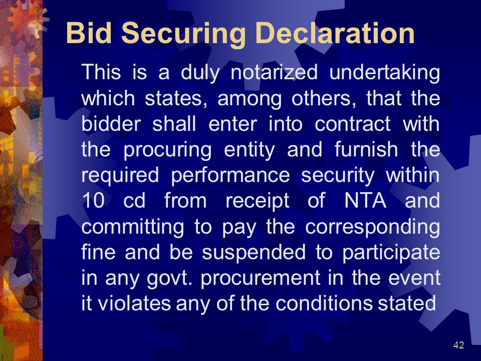 Bid Securing Declaration