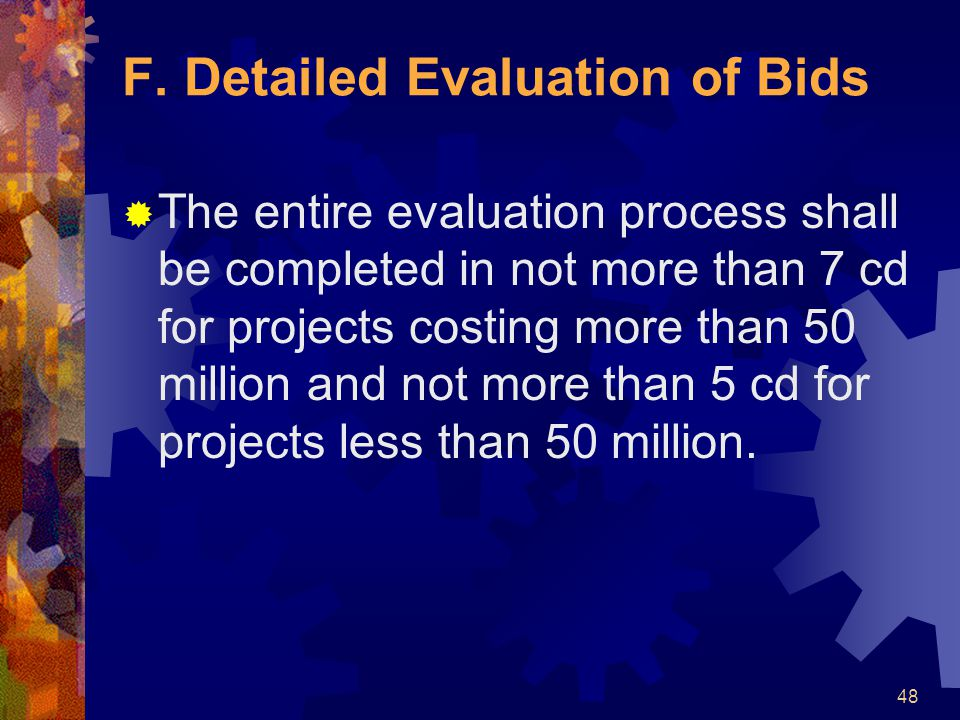 F. Detailed Evaluation of Bids