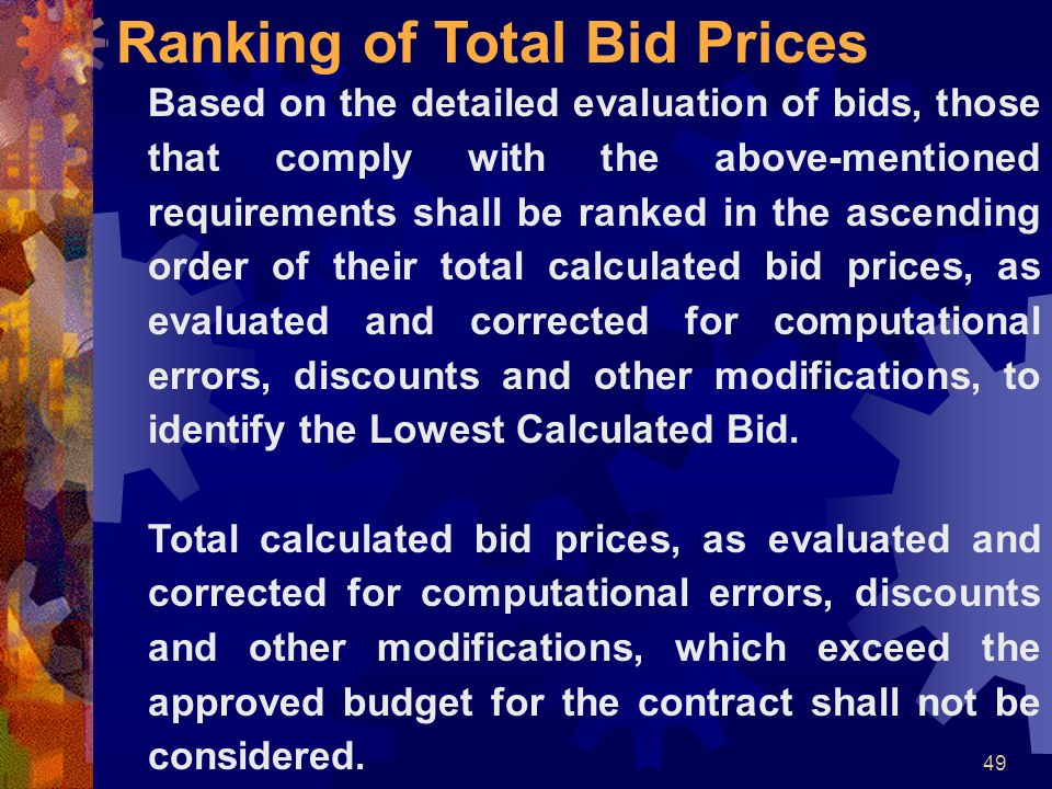 Ranking of Total Bid Prices