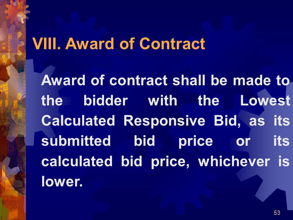 Award of Contract