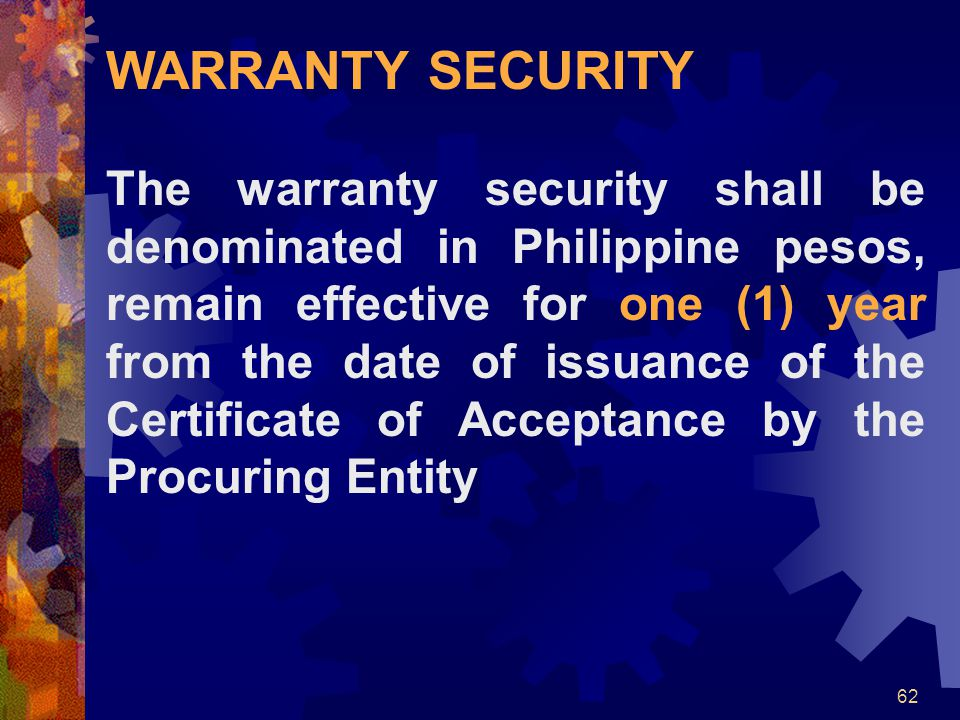 WARRANTY SECURITY