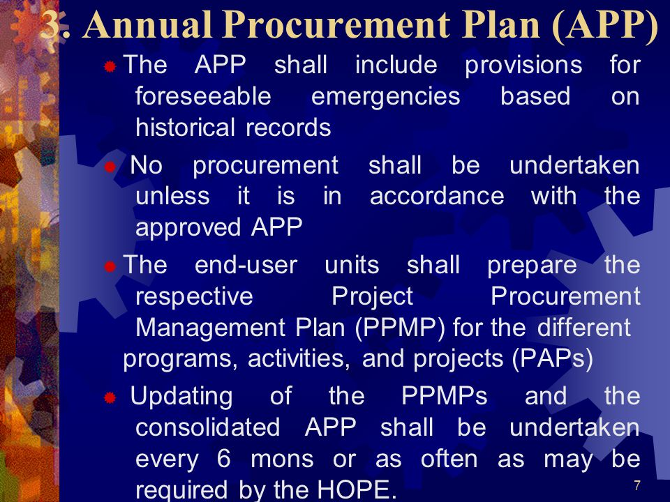 3. Annual Procurement Plan (APP)