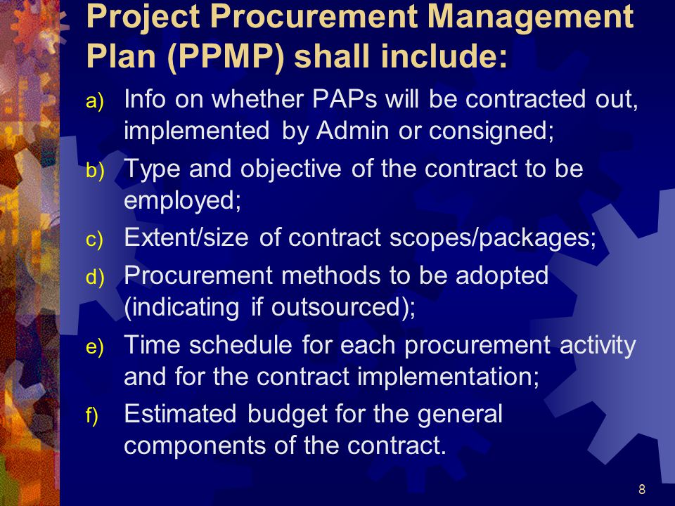 Project Procurement Management Plan (PPMP) shall include: