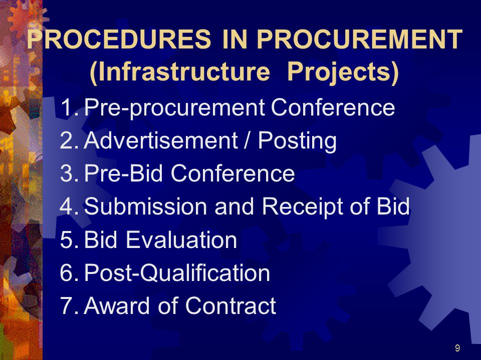 PROCEDURES IN PROCUREMENT (Infrastructure Projects)