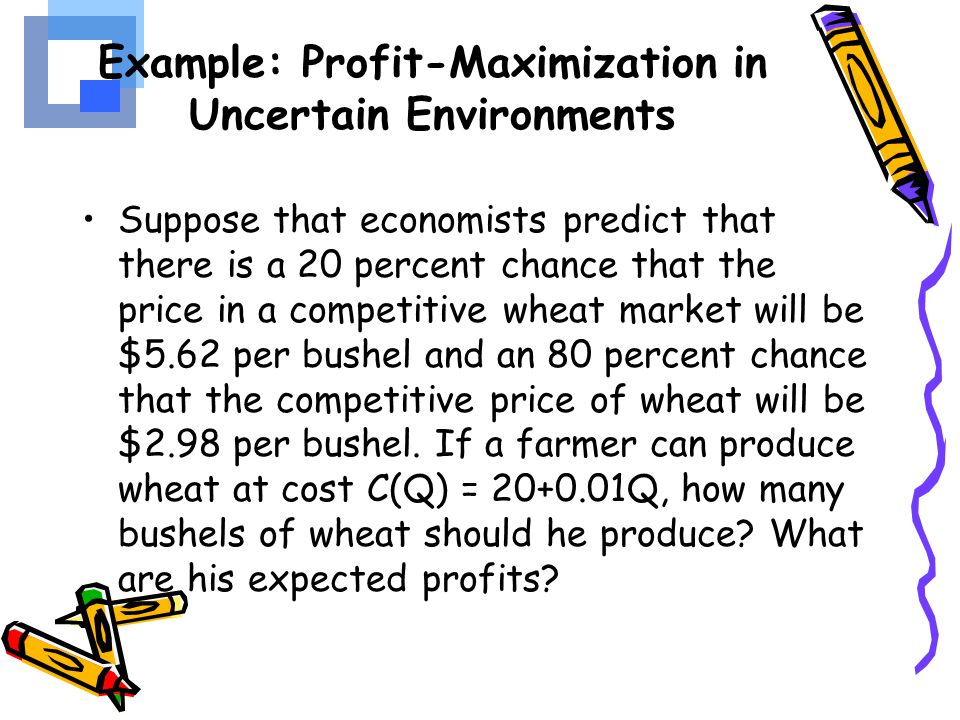 Example: Profit-Maximization in Uncertain Environments