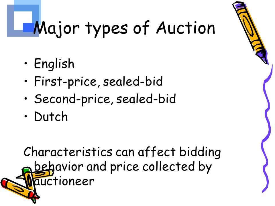 Major types of Auction English First-price, sealed-bid